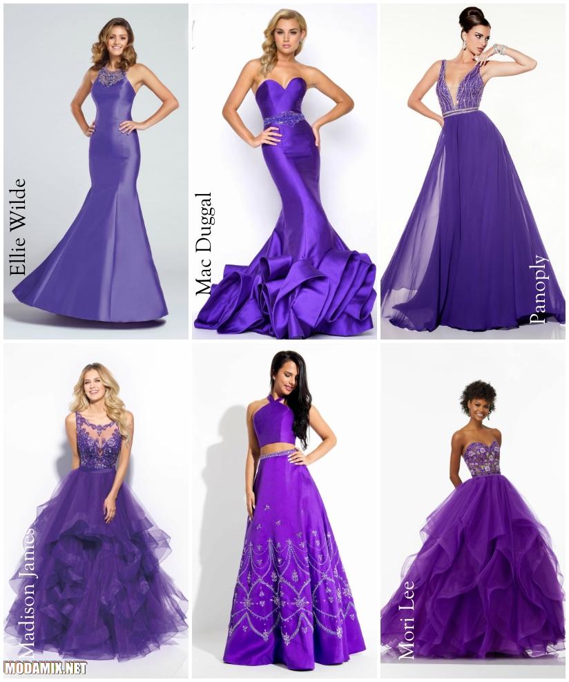 Фиолетовые платья на выпускной в 2017 году