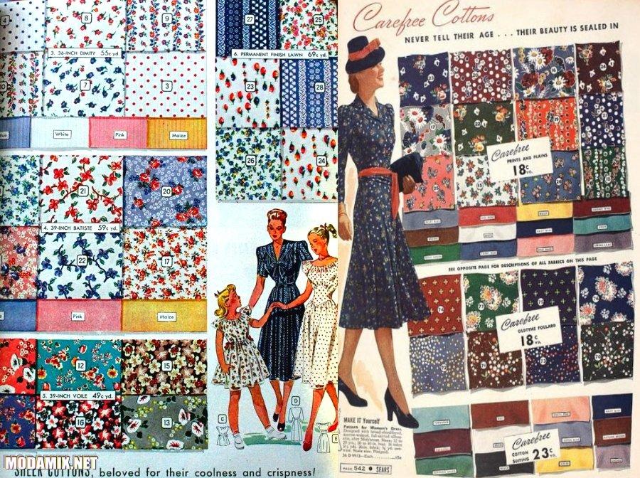 Принты в платьях 40-х