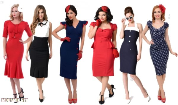 Облегающие платья в стиле пин-ап 40-х годов