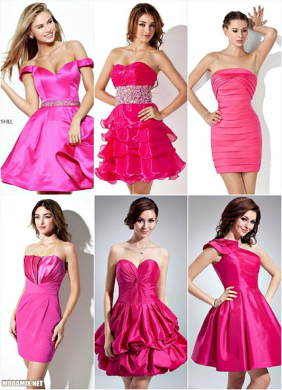 Короткие выпускные платья 2017 розового цвета