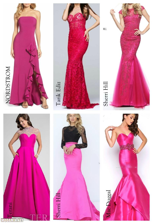 Малиновый цвет выпускных платьев
