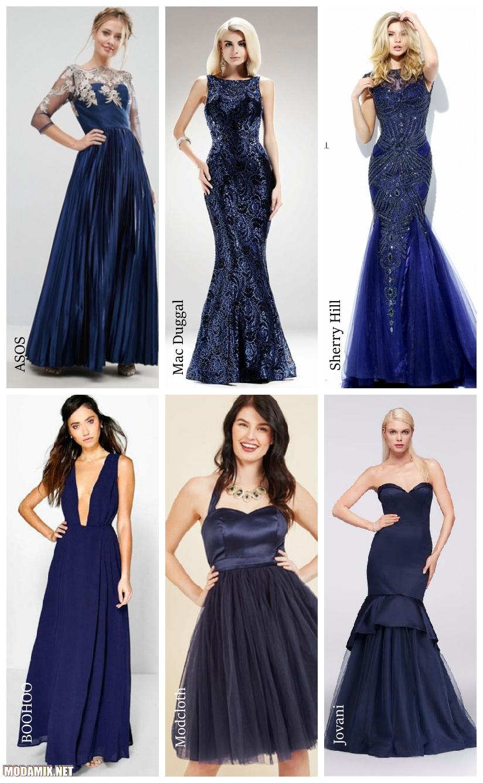 Синие платья на выпускной 2017 года