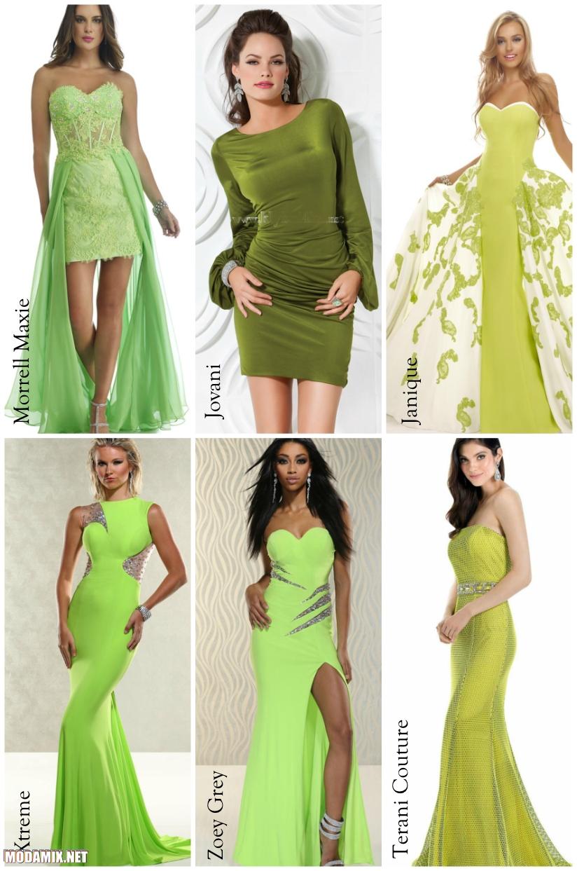 Яблочный зеленый цвет выпускного платья