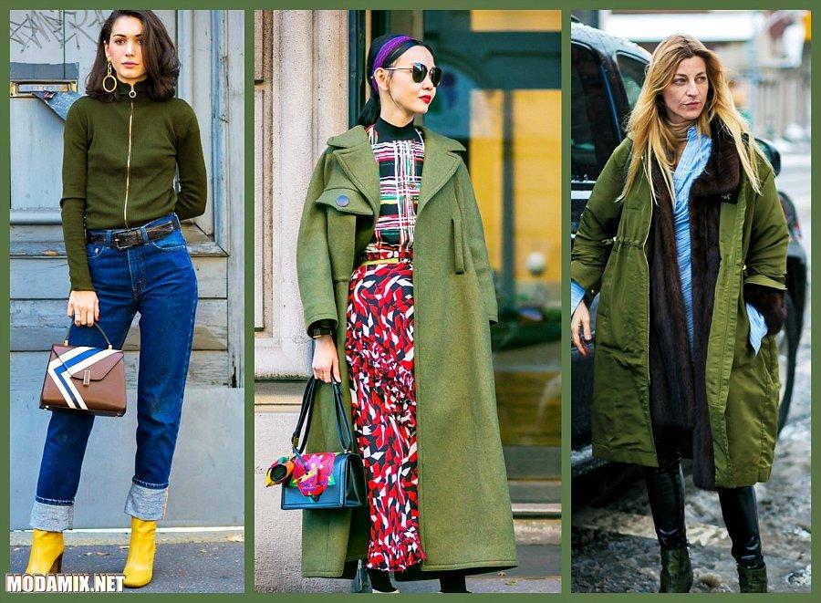 Одежда оттенка Kale в уличной моде