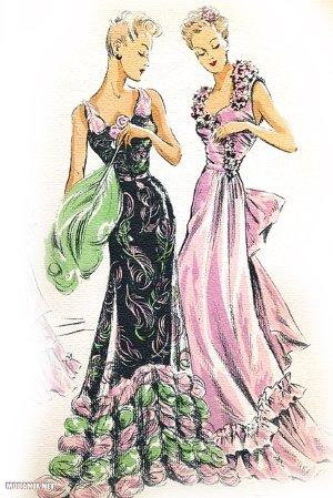 Вечерние платья 40-х годов