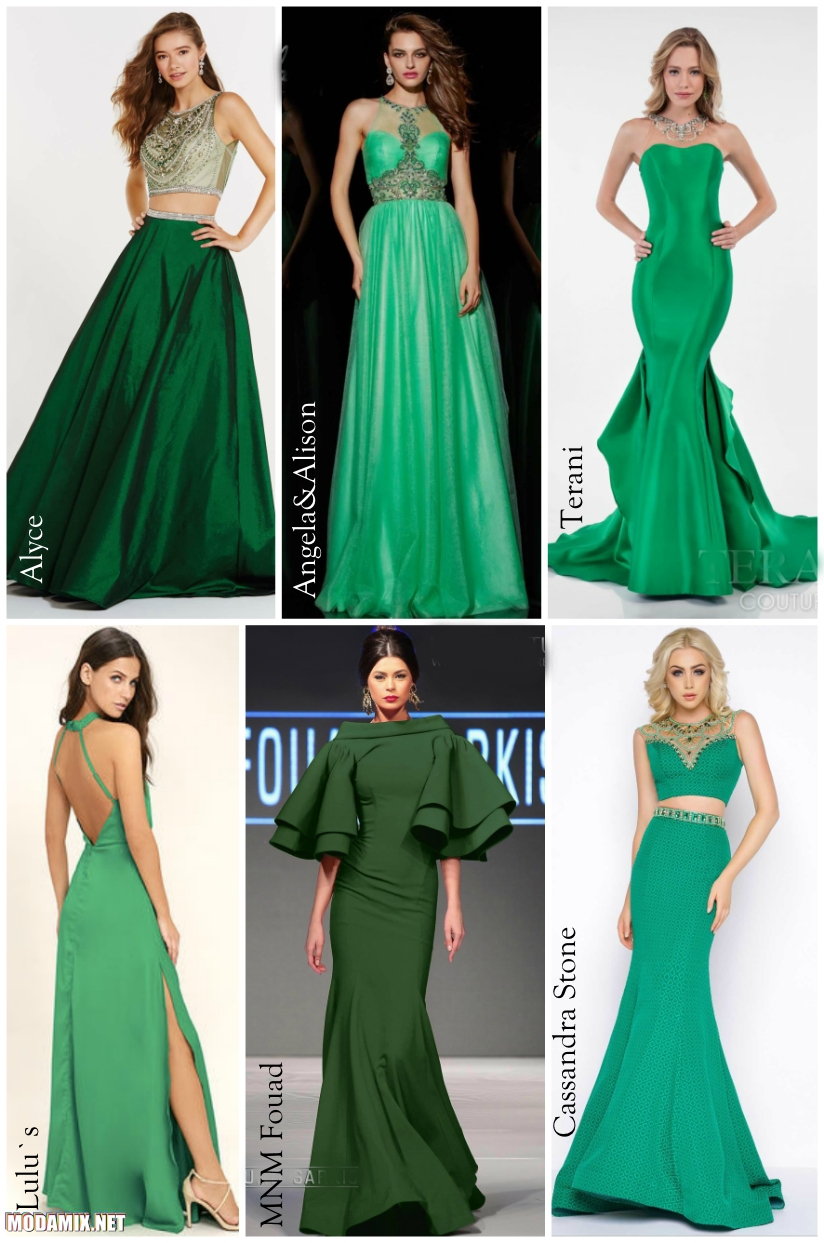 Модный зеленый цвет выпускных платьев 2017 года