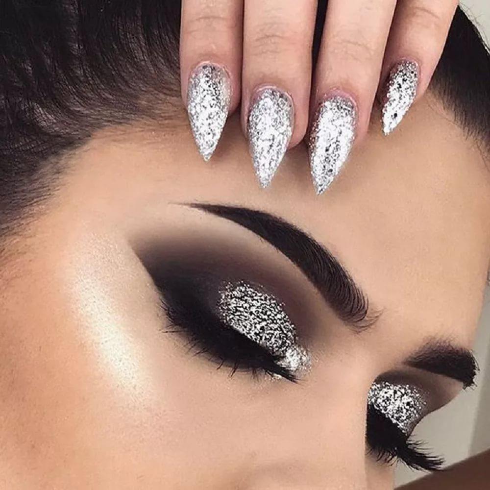 макияж в металлических оттенках