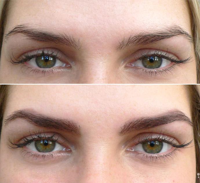 красить брови до и после